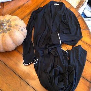 Skin| Pima Cotton Robe Black Trimmed White